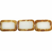 Picasso Opaque White 8/12mm Rectangular Window Beads (12PK)