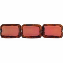 Picasso Coral Pink 8/12mm Rectangular Window Beads (12PK)