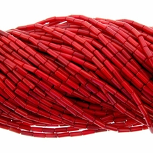 Red Coral Bamboo  9x3mm Tube Beads 16 inch Strand