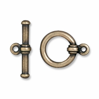 Brass Oxide Bar & Ring Clasp Set