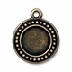 Brass Oxide Beaded Round Drop Frame