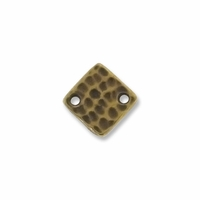 Brass Oxide Hammered Square Link