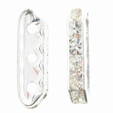 Crystal Rhinestone Bridge 21x6mm Silver (1PC)
