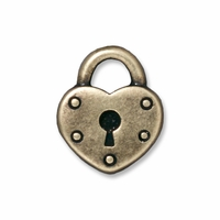 Brass Oxide Heart Lock Charm