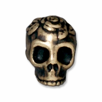 Brass Oxide Rose Skull Bead