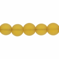 8mm Light Topaz Frosted Round Glass Beads (42PK)