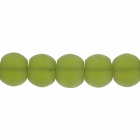 8mm Olivine Frosted Round Glass Beads (42PK)