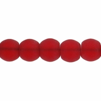 8mm Ruby Frosted Round Glass Beads (42PK)