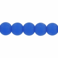 8mm Sapphire Frosted Round Glass Beads (42PK)