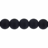 8mm Black Frosted Round Glass Beads (42PK)