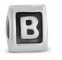 8mm Letter Beads Silver Plated Large Hole B (1PC)