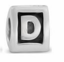 8mm Letter Beads Silver Plated Large Hole D (1PC)