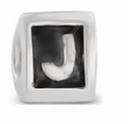 8mm Letter Beads Silver Plated Large Hole J (1PC)