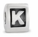 8mm Letter Beads Silver Plated Large Hole K (1PC)