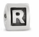 8mm Letter Beads Silver Plated Large Hole R (1PC)