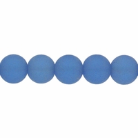 8mm Light Sapphire Frosted Round Glass Beads (42PK)