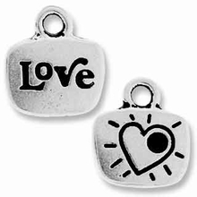 Antique Silver Crystal Glue-In Love Charm
