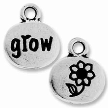 Antique Silver Crystal Glue-In Grow Charm