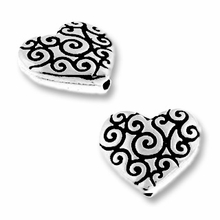 Antique Silver Heart Scroll Bead
