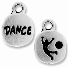 Antique Silver Crystal Glue-In Dance Charm