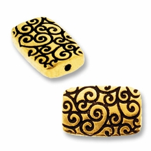 Antique Gold Rectangle Scroll Bead