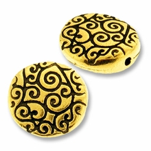 Antique Gold Round Scroll Bead