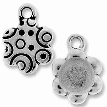 Antique Silver Sm. Flower Picture Frame Charm