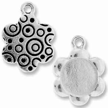 Antique Silver Lg. Flower Picture Frame Charm