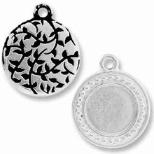 Antique Silver Beaded Round Picture Frame Charm