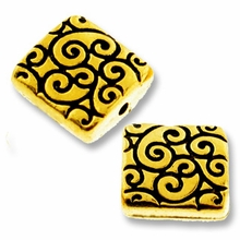 Antique Gold Square Scroll Bead