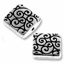 Antique Silver Square Scroll Bead