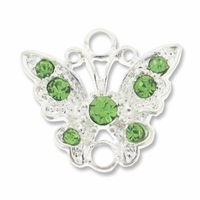 Silver Plated 17mm Peridot Butterfly Link (1PC)