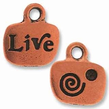 Antique Copper Crystal Glue-In Live Charm
