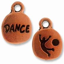 Antique Copper Crystal Glue-In Dance Charm