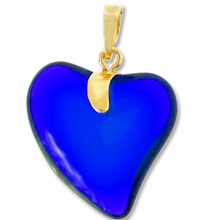 Sapphire Gold Pendent Heart 24mm (1PC)