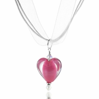 Satin Rose Heart Lampwork Ribbon Necklace Design Idea
