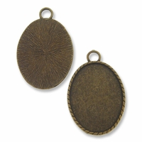 Antiqued Brass Plated 44x34mm Oval Pendant Cabochon Settings (1PC)
