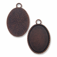 Antiqued Copper Plated 44x34mm Oval Pendant Cabochon Settings (1PC)