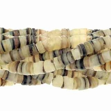 "4-5mm Hammer Shell Heishe Natural 24"" Strand"