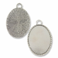 Antiqued Silver Plated 44x34mm Oval Pendant Cabochon Settings (1PC)