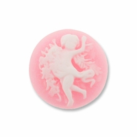 Cameo, Angel, White on Pink,  20mm Round Synthetic Cabochon (5PK)