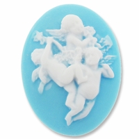 Cameo, Angels, White on Blue, 40x30mm Oval Cabochon (5PK)