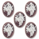 Cameo, Angels,  White on Violet, 40x30mm Oval Cabochon (5PK)