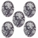 Cameo, Elizabeth,  White on Brown,39x29mm Oval Cabochon (5PK)
