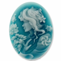 Cameo, Elizabeth, White on Teal, 39x29mm Oval Cabochon (5PK)