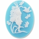 Cameo, Fairy & Bird, White on Blue, 40x30mm Oval Cabochon (5PK)