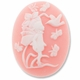 Cameo, Fairy & Bird, White on Lt. Coral, 40x30mm Oval Cabochon (5PK)