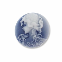 Cameo, Grace, White on Navy, 20mm Round Synthetic Cabochon(5PK)