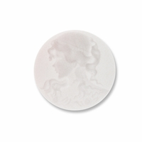 Cameo, Grace, White on White, 20mm Round Synthetic Cabochon (5PK)