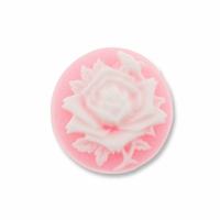 Cameo, Rose Flower, White on Pink, 20mm Round Synthetic Cabochon (5PK)